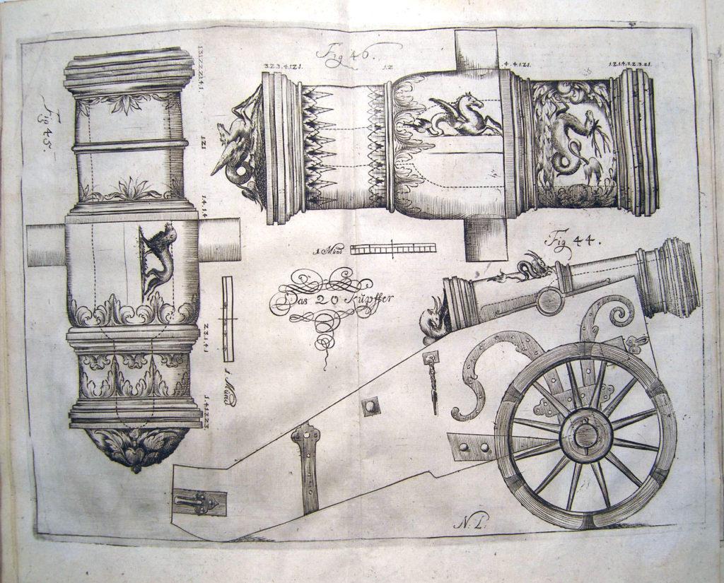 Ponaučení o kanónech, moždířích, kulích a granátech ze 17. století