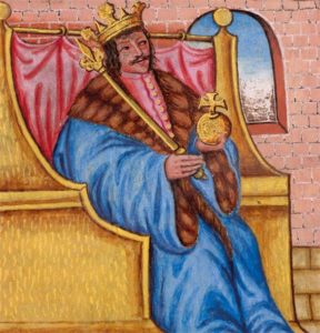 """Václav IV., zvaný """"kacířský král"""" nebo také """"král dvojího lidu"""" (tj. husitů a katolíků)"""