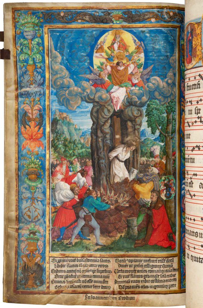 Litoměřický graduál - Upálení mistra Jana Husa dne 6. července 1415 ajeho nanebevzetí, kdy jej Bůh Otec přímo zkacířské hranice přijímá mezi svaté mučedníky