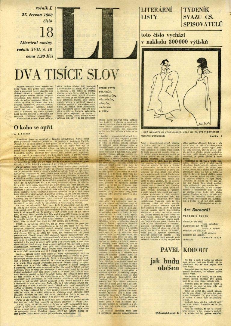 2000 slov, Literární listy, č. 18, 27. 6. 1968