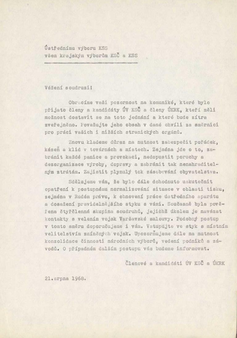 Záznam ze zasedání v hotelu Praha 21. 8. 1968