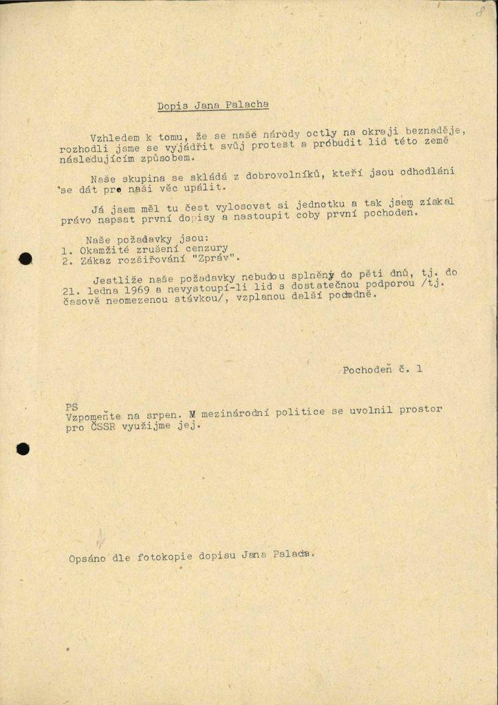 Přepis dopisu Jana Palacha