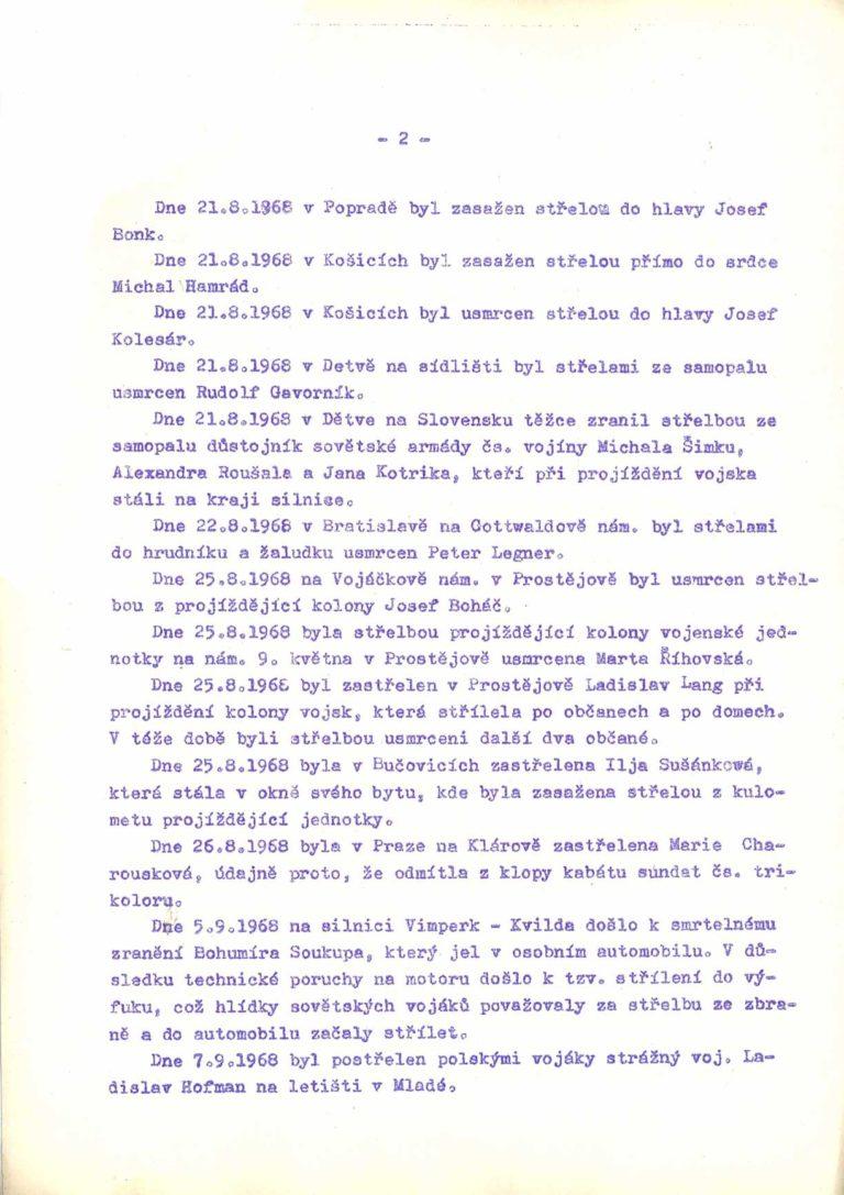 Zpráva o incidentech k nimž došlo v souvislosti se vstupem a přítomností vojsk států Varšavské smlouvy na území ČSSR