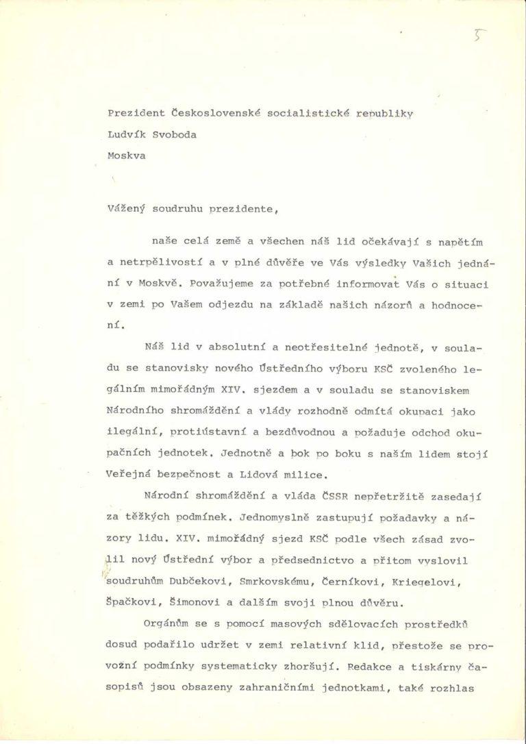 Dopis vlády ČSSR předsednictva FS a PÚV KSČ prezidentu ČSSR k jednání československé delegace v Moskvě