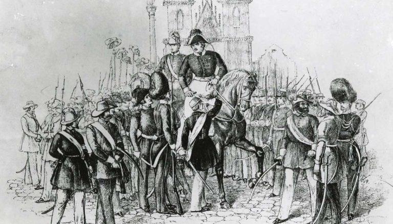 Pražští měšťané a Národní gardy v březnu 1848.