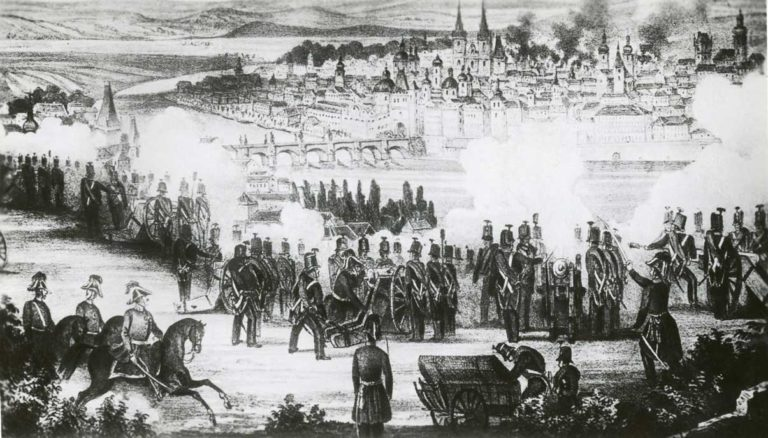 Windischgrätzovo vojsko na levém břehu Vltavy bombarduje Prahu.