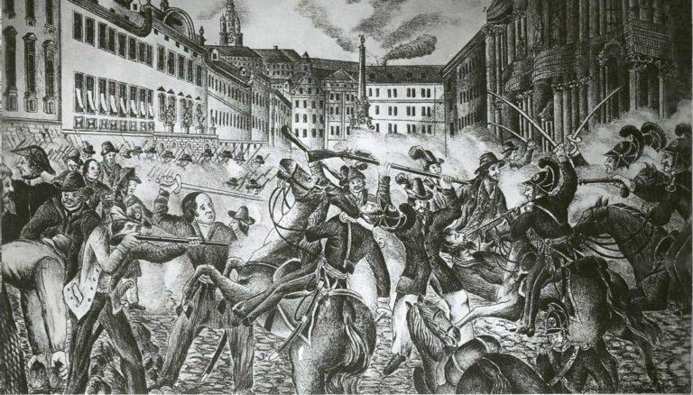 Srážka mezi Windischgrätzovými vojáky a pražskou revoluční gardou 12. června 1848 v prostoru horního Malostranského náměstí.