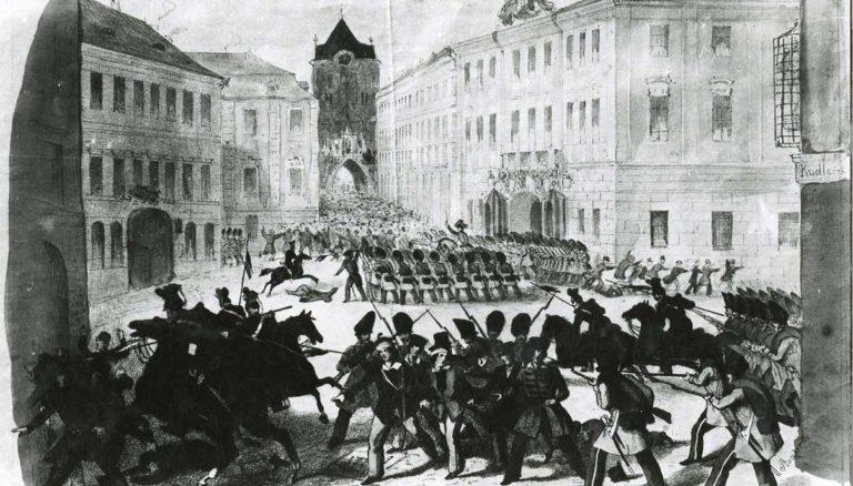 Útok vojsk na lid v Praze, Prašná brána, Celetná ulice.
