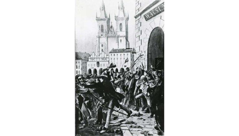 """Praha proti volbám frankfurtským. """"V málo minutách byly plakáty strhány a zničeny."""" Staroměstské náměstí."""