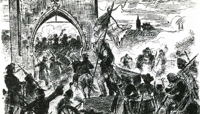 Mikoláš Aleš: Barikády v Praze r. 1848.