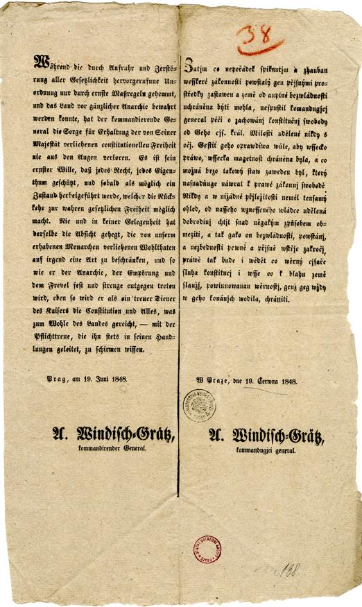 Provolání generála Windischgrätze o znovuzavedení pořádku v Praze