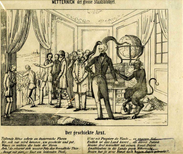 """Karikatura """"Metternich jako státní pijavice"""""""