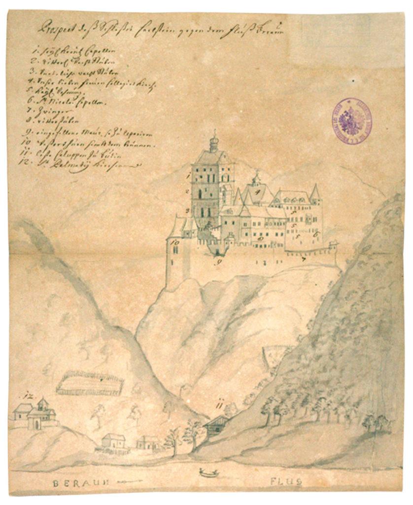 Nejstarší pohled na hrad Karlštejn