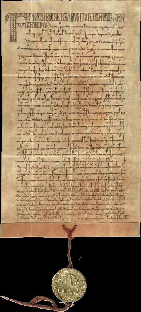 Fridrich II., zvolený císař římský, daruje apotvrzuje Přemyslu Otakarovi I., králi českému, své panství Floss, hrad Schwarzenberg ajiné hrady astatky.