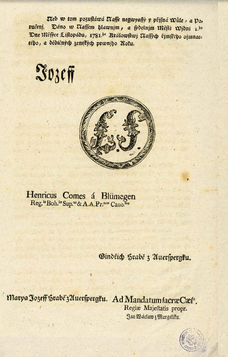 Patent Josefa II. o zrušení nevolnictví
