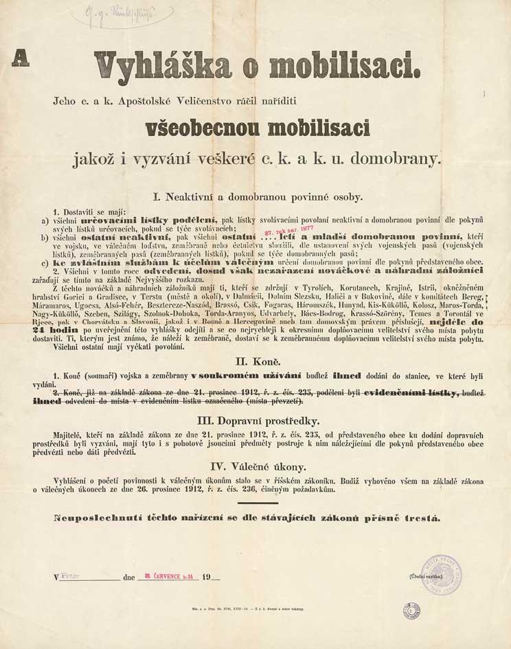 Vyhláška o všeobecné mobilizaci