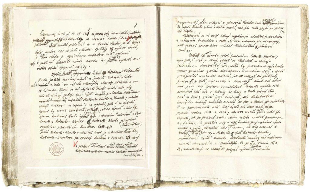 Koncept deklarace nezávislosti stylizovaný apsaný Tomášem Garriguem Masarykem.