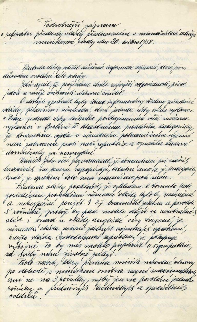 Protokol z29. schůze 17. československé vlády, záznam vystoupení premiéra Milana Hodži a seznam účastníků schůze