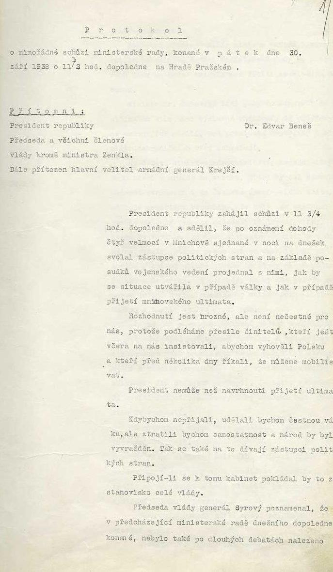 Protokol z9. schůze 18. československé vlády spodpisy ministrů