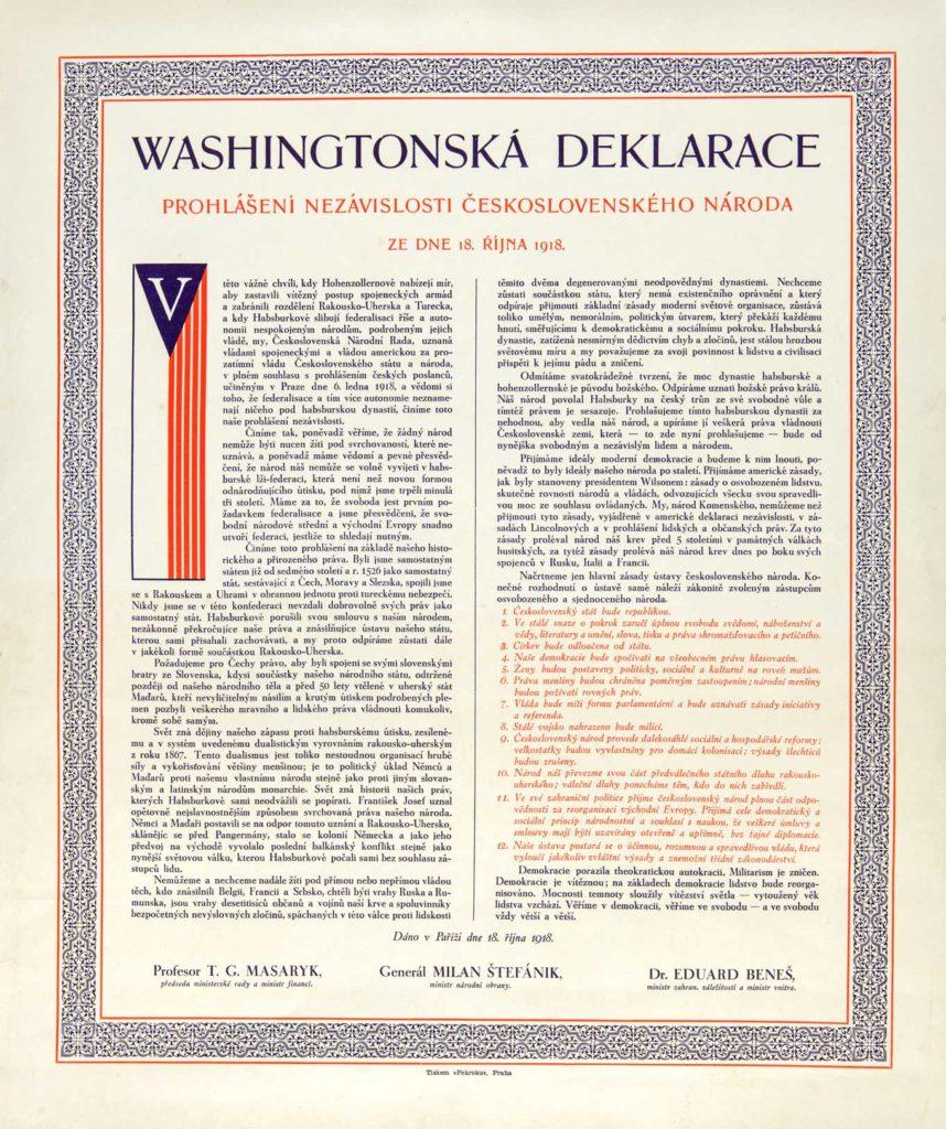 Definitivní znění prohlášení nezávislosti československého národa