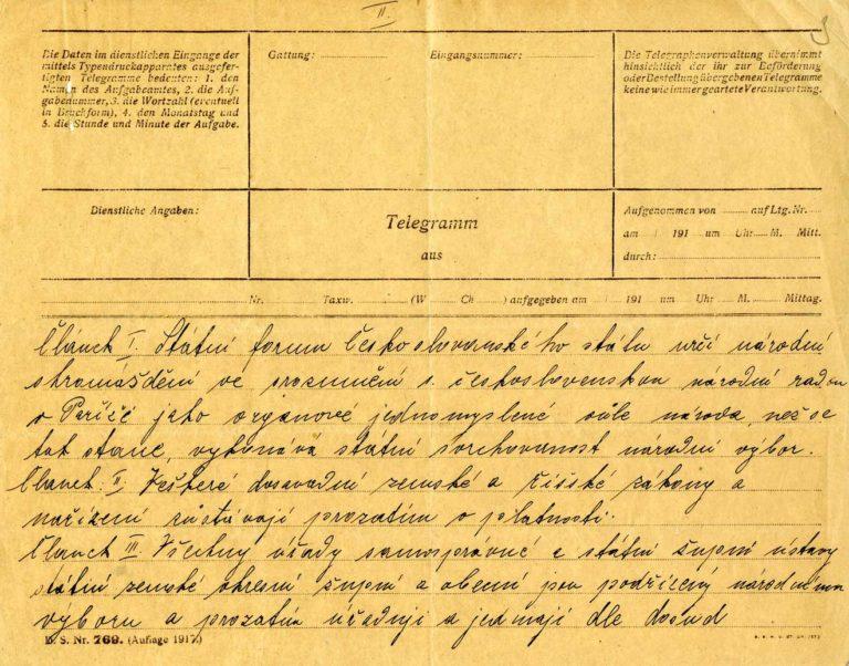 Zpráva Národního výboru česko-sloven- ského okresním aobecním úřadům ovydání prvního zákona samostatného státu