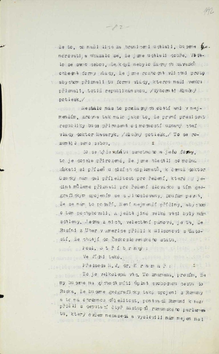 Stenografický protokol plenární schůze Národního výboru