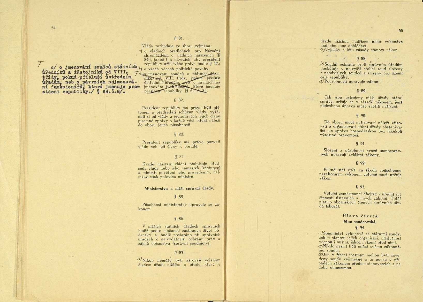 Originál ústavy publikované ve Sbírce zákonů anařízení pod č. 121, 29. 2. 1920