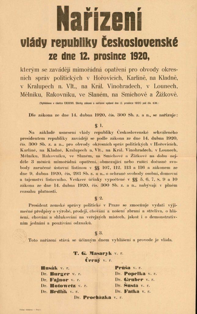 Plakát oznamující vyhlášení mimořádných opatření vněkterých politických okresech