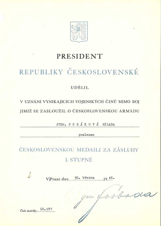 Dekret k udělení Československé medaile za zásluhy