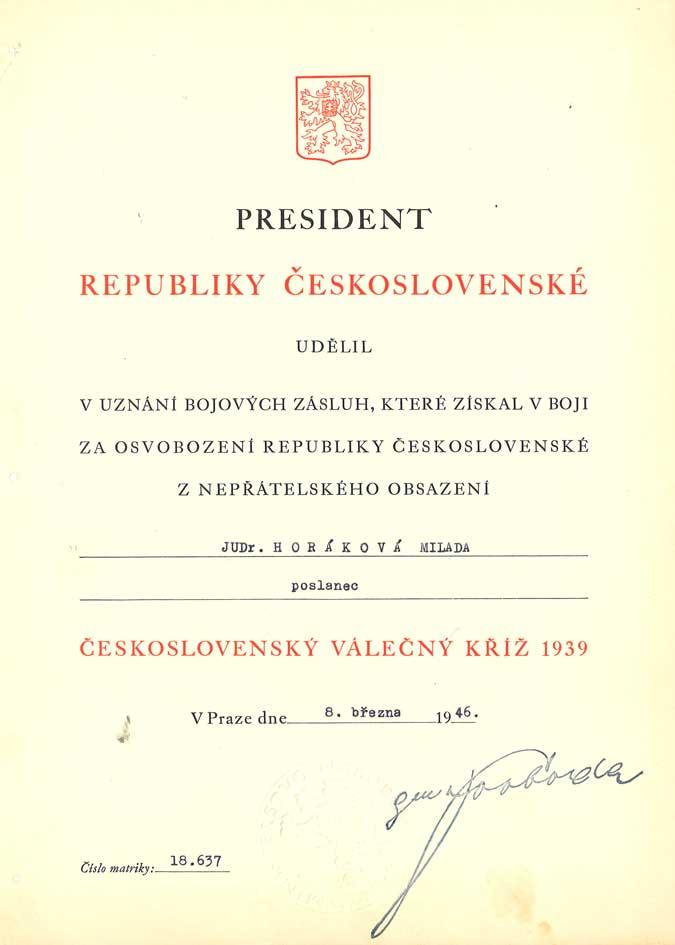 Dekret k udělení Československého válečného kříže