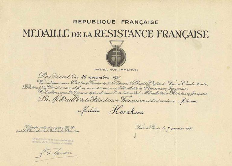 """Dekret k """"Medaille de la Resistance francaise"""""""