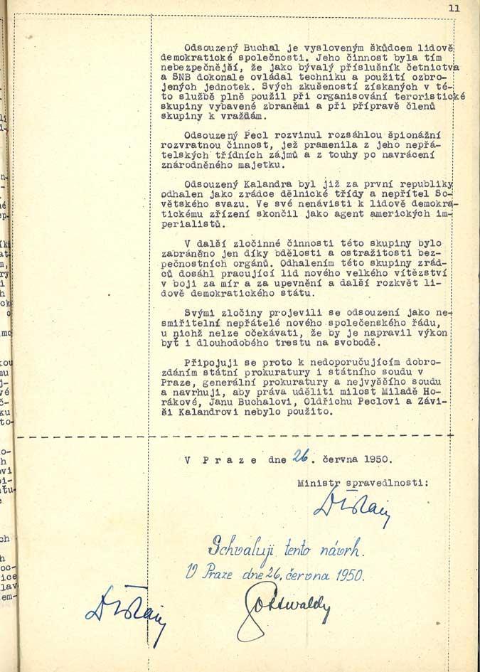 Návrh m. spravedlnosti na neudělení milosti M. Horákové a spol. podepsaný Gottwaldem