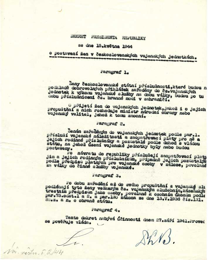 Dekret prezidenta republiky o postavení žen v československých vojenských jednotkách
