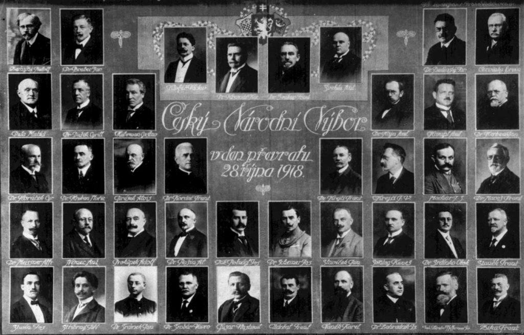 Tablo členů Národního výboru československého v den převratu 28. 10. 1918.
