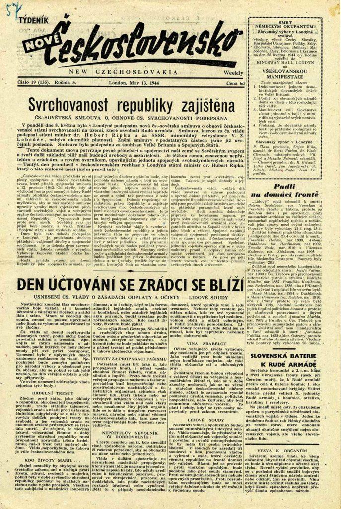 Titulní list periodika Nové Československo informujícím o podpisu československo-sovětské smlouvy o pobytu spojeneckých sovětských vojsk na území ČSR z 8. května 1944