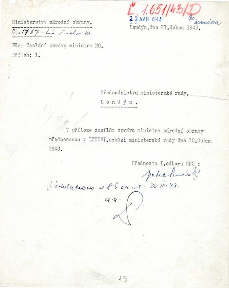 Zpráva ministra národní obrany přednesená vládě o bojovém nasazení československých vojáků u Sokolova