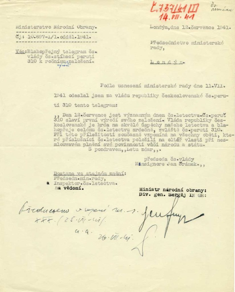 Blahopřání československé exilové vlády 310. československé peruti RAF k prvnímu výročí existence jednotky