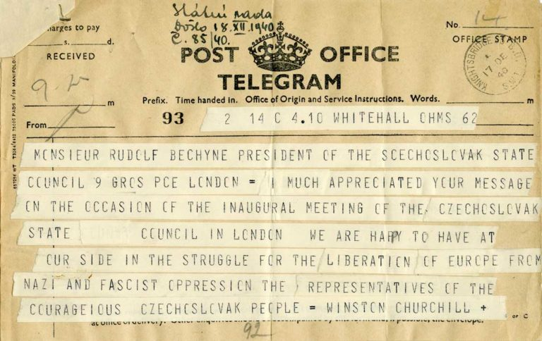 Telegram britského premiéra Winstona Churchilla předsedovi Státní rady Rudolfu Bechyněmu k zasedání Státní rady