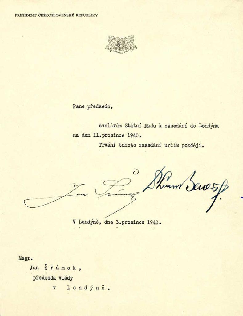 Dopis prezidenta republiky Edvarda Beneše předsedovi vlády Janu Šrámkovi svolávající Státní radu k prvnímu zasedání