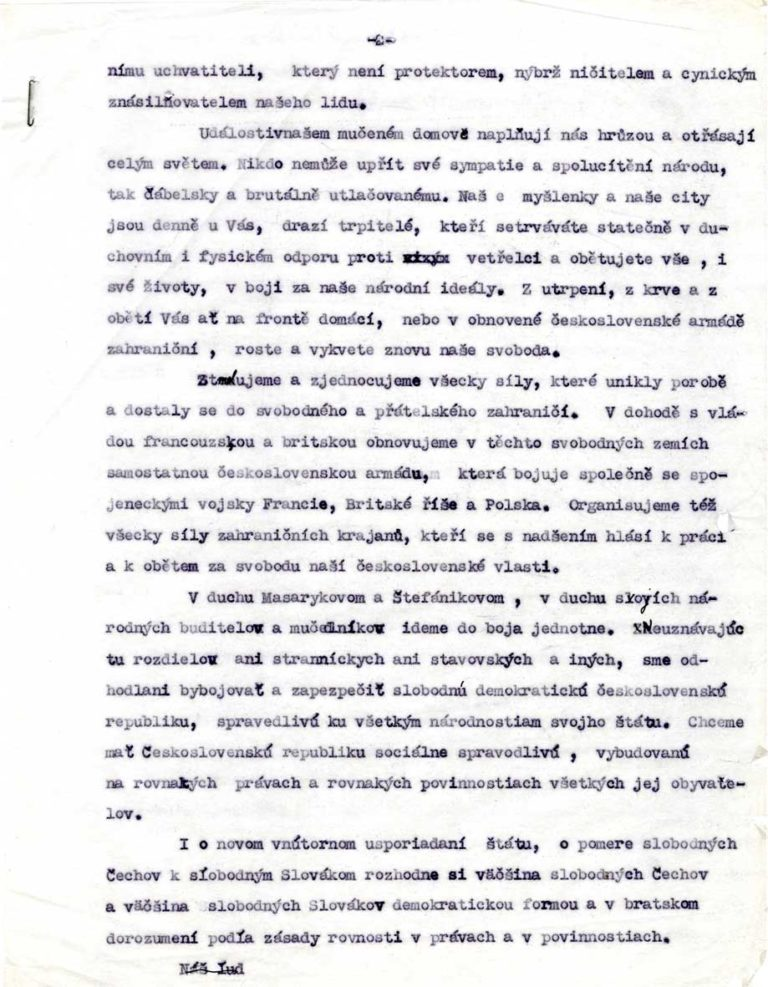 Koncept Prohlášení Národního výboru československého