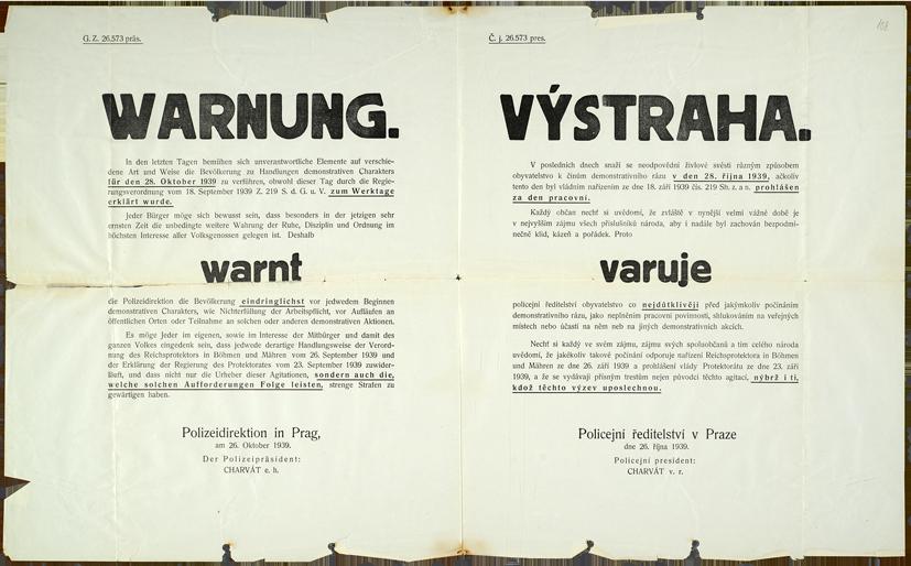 Výstraha policejního ředitele v Praze před demonstracemi u příležitosti 28. října 1939