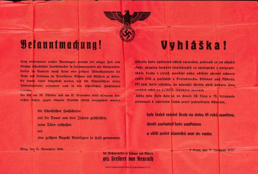 Vyhláška říšského protektora K. von Neuratha o uzavření českých vysokých škol
