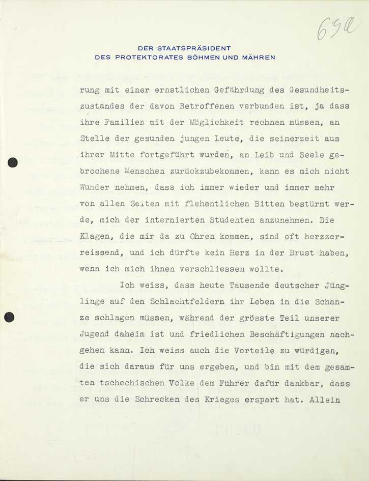 Žádost Emila Háchy o propuštění studentů internovaných po listopadu 1939 v koncentračních táborech adresovaná K. von Neurathovi