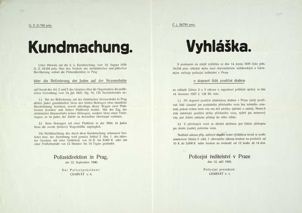 Vyhláška Policejního ředitelství v Praze omezující používání pouliční dráhy Židy
