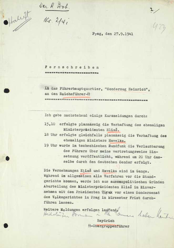 Dálnopis Reinharda Heydricha říšskému vůdci SS a policie Heinrichu Himmlerovi o prvních opatřeních v Praze po jeho nástupu do funkce zastupujícího říšského protektora