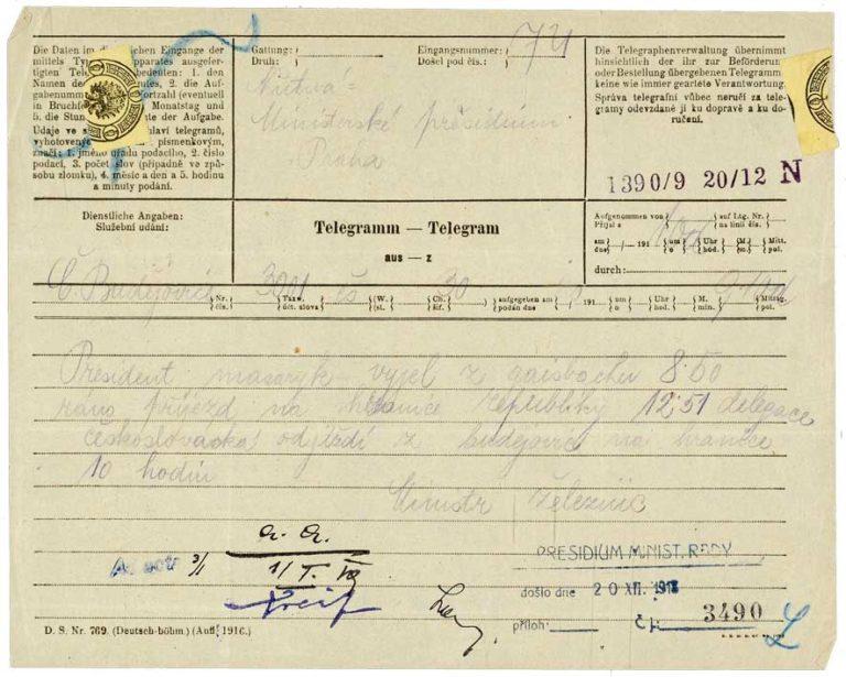 Zpráva o příjezdu prezidenta Masaryka na hranice státu