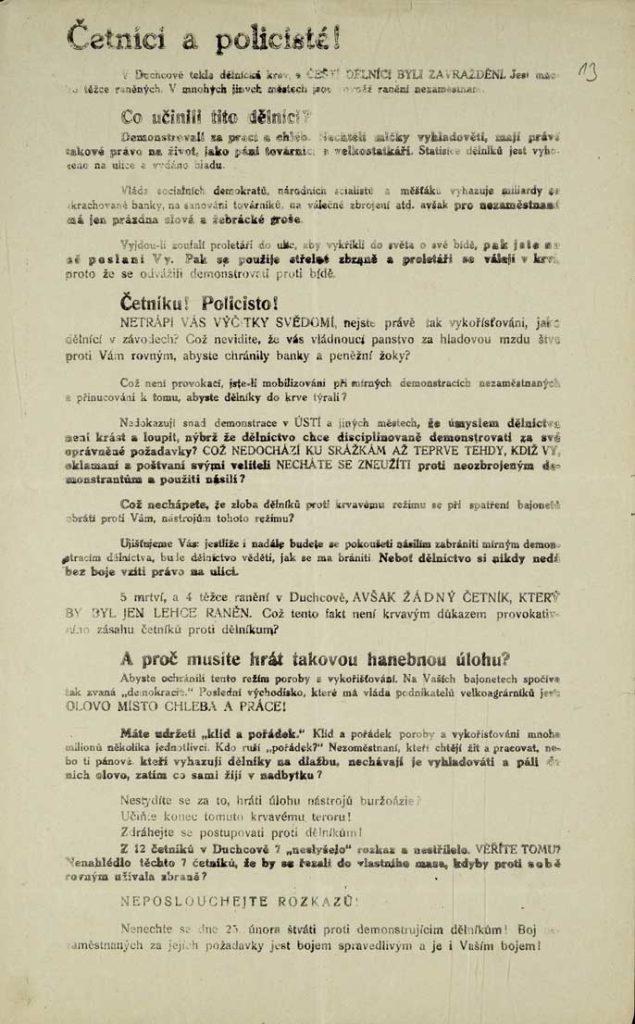 Leták KSČ příslušníkům vnitřních bezpečnostních složek z počátku třicátých let.