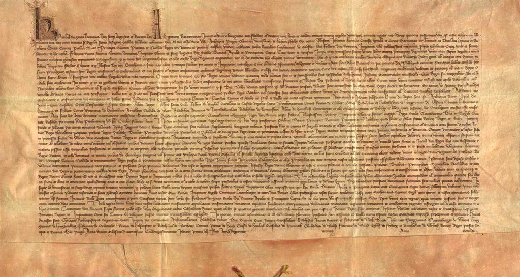 Karel IV., římský a český král, potvrzuje z moci římské královské hodnosti inserovanou listinu Fridricha II., voleného císaře římského, danou 26. září 1212 v Basileji Přemyslovi I., která potvrzuje jemu a jeho nástupcům hodnost královskou a uděluje mu České království