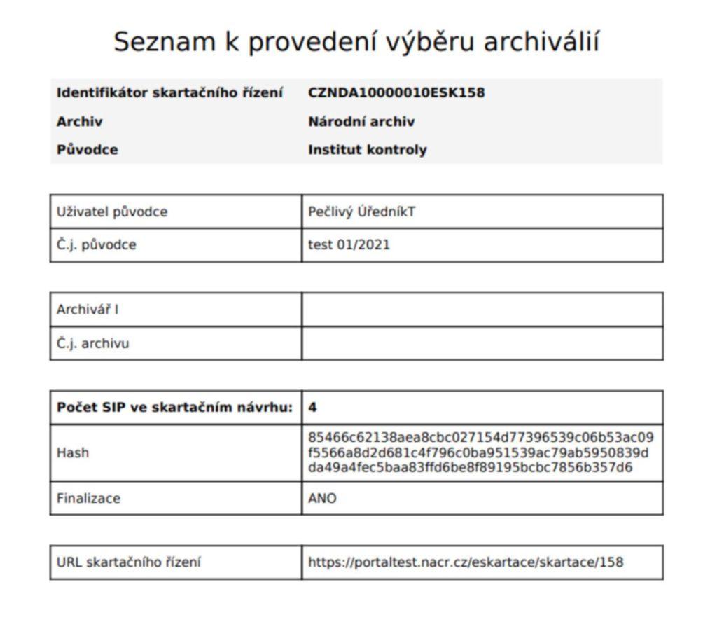 Seznam k provedení výběru archiválií