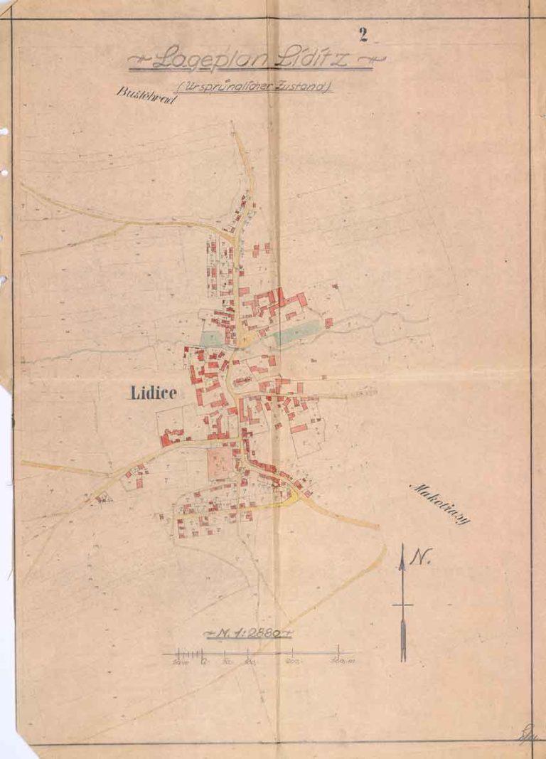 Plán Lidic s vyznačením jednotlivých demoličních úseků a vyčíslením prací potřebných na úplnou likvidaci obce